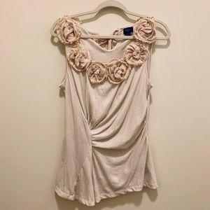 Anthropologie Deletta Cream/Tan Sleeveless Top
